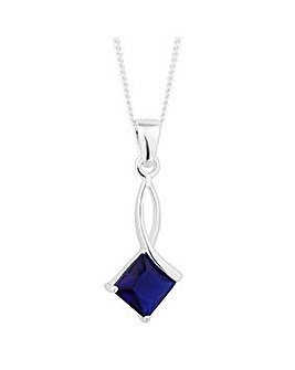 Simply Silver Blue Square Drop Necklace