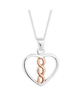 Simply Silver Heart Twist Drop Necklace