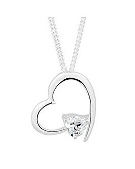 Simply Silver Open Heart Necklace