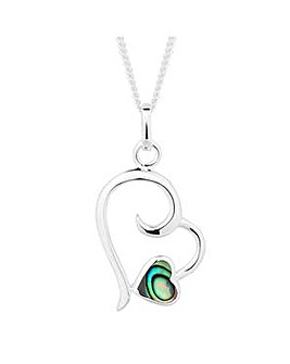 Simply Silver Abalone Heart Drop Pendant