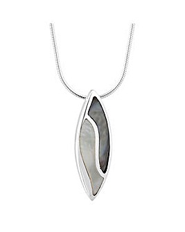 Simply Silver Pearl Leaf Drop Necklace