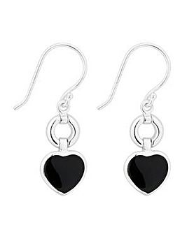 Simply Silver Onyx Heart Drop Earring