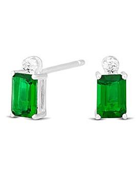 Simply Silver Green Baguette Earring
