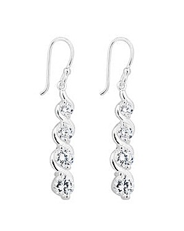 Simply Silver Graduated Swirl Earring