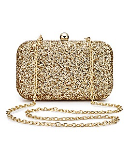 Alice Gold Glitter Clutch Bag