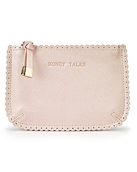 Pink Metallic Slogan Purse