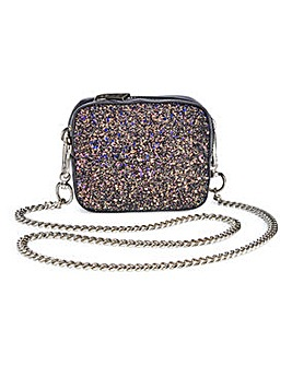 Trixie Mini Black Glitter Shoulder Bag