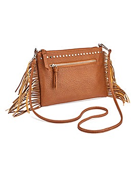 Fringing and Studded Tan Shoulder Bag