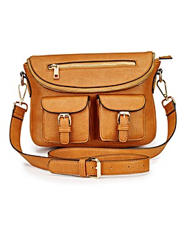 Utility X Across Body Tan Bag