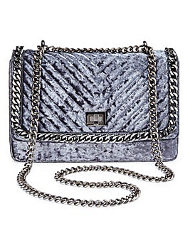 Olivia Grey Velvet Quilted Shoulder Bag