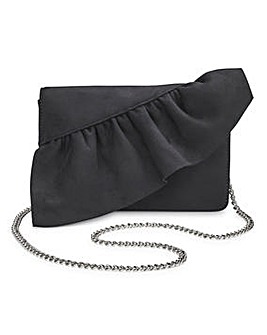 Scarlet Black Ruffle Clutch Bag
