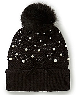 Pearl Detail Bobble Hat