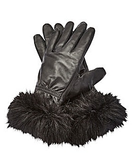 Leather Gloves With Faux Fur Trim