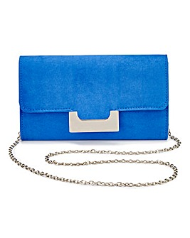 Lily Cobalt Faux Suede Clutch Bag