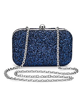 Alice Navy Glitter Clutch Bag