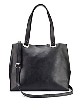 Black Shopper with Shoulder Strap