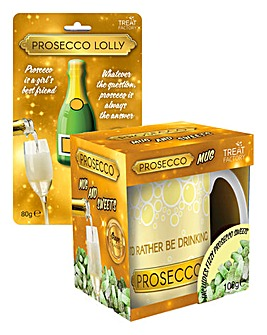 Prosecco Lolly & Mug with Sweets