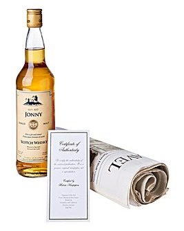 Personalised Malt Whisky & Newspaper
