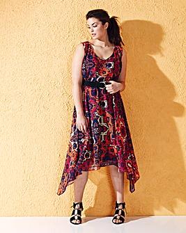 Orange/Pink Print Dipped Hem Maxi Dress