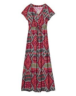 Multi Print Kimono Sleeve Maxi Dress