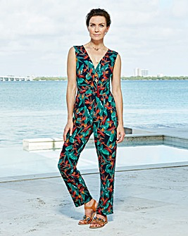 Black/Green Print Wrap Front Jumpsuit