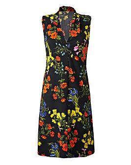 V-Neck Black Floral Print Shift Dress