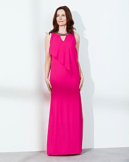 Waterfall Bead-Neck Maxi Dress