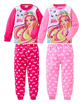 Barbie Girls Pack of Two Fleece Pyjamas