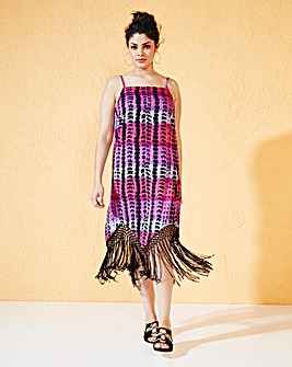 Strappy Fringed Hem Dress