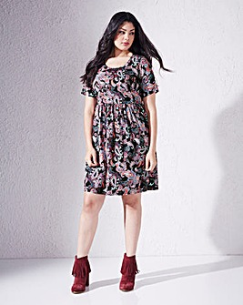 Paisley Short Sleeve Babydoll Dress