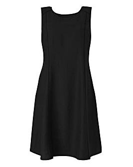 Black Plain Linen Mix Dress