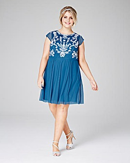Cornflower Blue Beaded Mesh Skater Dress