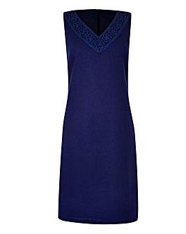 Linen-Blend Crochet Trim Dress