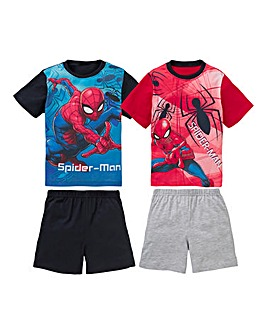Spiderman Boys Pack of Two Pyjama Shorts
