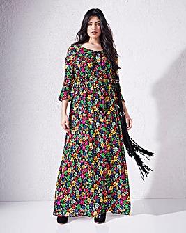 Black/Multi Lace-Up Crinkle Maxi Dress
