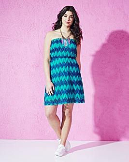 Green Multi Zigzag Bandeau Dress