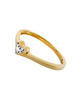 9ct Yellow Gold Diamond Set Heart Ring
