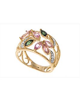 9ct Gold Stone Set Floral Design Ring