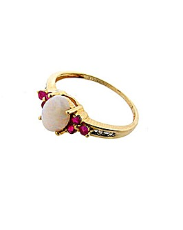 9ct Ruby and Opal Ring
