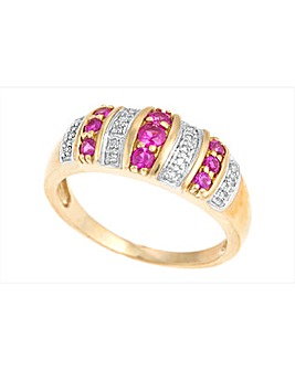 9ct Yellow Gold Diamond and Ruby Ring
