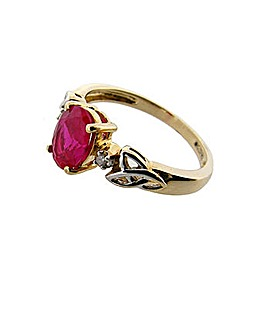 9ct Celtic Diamond and Ruby Ring
