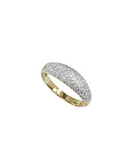 9ct Yellow Gold 0.50ct Diamond Pave Ring