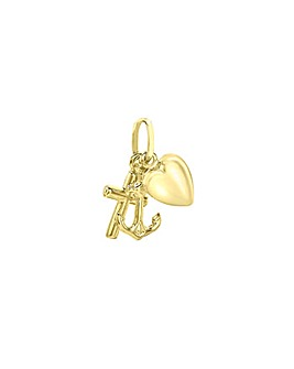 9Ct Gold Faith, Hope And Charity Charm