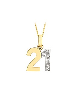 9Ct Gold Diamond Set 18 Necklace