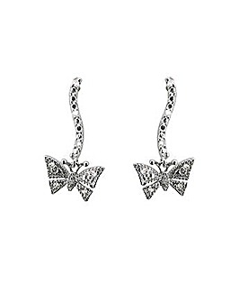 9ct Gold Diamond Butterfly Drop Earrings