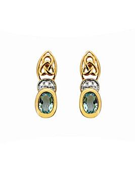 9ct YG Diamond and BT Celtic Earrings