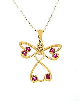 9ct YG Sapphire Angel Pendant