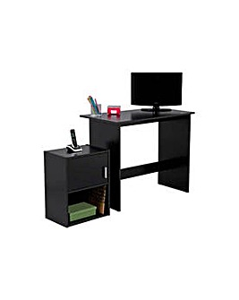Soho Office Desk and Cabinet - Black.