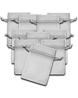 Organza Favor Bags Silver x 10