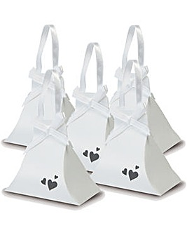 Hand Bag Heart Favor Boxes x 10 White